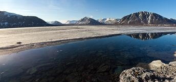 Cylindrical panorama of mountain lake Royalty Free Stock Photo