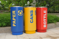 Cylindrical Recycle Bins Stock Photos