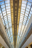 Cylindrical section of glass roof . An image of the mainly glass roof in a modern shopping centre providing good lighting for the internal walkways. The Stock Images