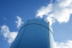 Cylindrical storage tower Royalty Free Stock Images