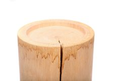 A cylindrical timber with a crack Royalty Free Stock Photo