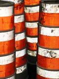 Cylindrical warning bollards stock image