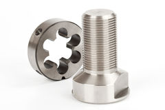 Cylindrical workpiece and button die Stock Photography
