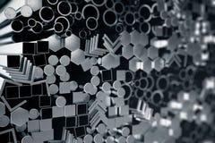 Cylindriska metallstålprofiler, sexhörniga metallstålprofiler, fyrkantiga metallstålprofiler Olikt rostfritt stål stock illustrationer