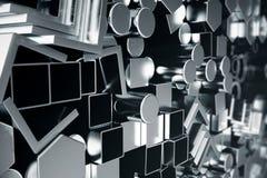 Cylindriska metallstålprofiler, sexhörniga metallstålprofiler, fyrkantiga metallstålprofiler Olikt rostfritt stål vektor illustrationer