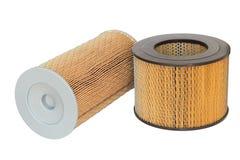 Cylindriskt filter för luft två av motorn på en vit arkivfoto