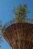 Cylindryczna Bambusowa struktura z Lotosową rośliną: Wietnam architekt Fotografia Royalty Free