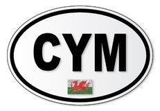 CYM Plate Wales. The CYM plate attached to vehicles from Wales travelling abroad Royalty Free Stock Photo
