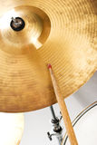 Cymbal. Close up of cymbal set and drumstick indoor shot,check also Musical instruments and musicians Royalty Free Stock Photos