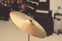Cymbal closeup with drum set Royalty Free Stock Photo