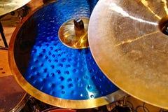 Cymbal closeup with drum set Royalty Free Stock Photos