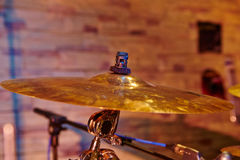 Cymbal closeup with drum set Stock Photography