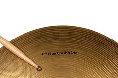 Cymbal and drumstick white backgrounds Royalty Free Stock Photos