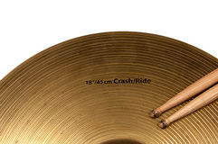 Cymbal and drumstick white backgrounds Stock Photos