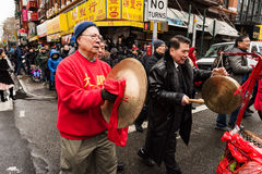 Cymbal and Gong Players. Chinese New Year Parade in Chinatown, New York City Royalty Free Stock Photos
