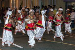 Cymbal Players (Thalampotakaruwo) perform during the Esala Perahera in Kandy, Sri Lanka. Royalty Free Stock Images