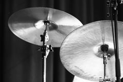 Cymbals. Black and white photo Royalty Free Stock Images