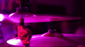Cymbals Closeup of Drumkit on a Stage stock video footage
