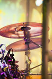Cymbals in drum set on a stage Royalty Free Stock Photos