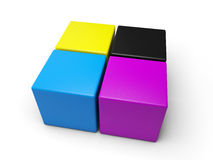CYMK Cubes Royalty Free Stock Photography