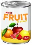 Cyna mieszana owoc w syropie ilustracji