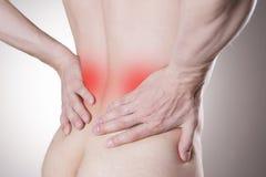 Cynaderki ból Mężczyzna z backache Ból w mężczyzna ciele obrazy stock