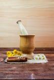 Cynamon, stokrotka drewniany tłuczek Fotografia Stock