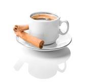 cynamonowy coffe filiżanki biel Zdjęcia Royalty Free