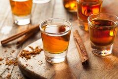 Cynamonowy whisky bourbon w strzału szkle zdjęcia royalty free