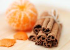 cynamonu owocowi pomarańczowi segmentu kije Fotografia Royalty Free