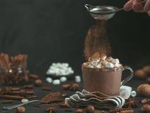 Cynamonu prochowy latanie nad szklanym kubkiem z gorącą czekoladą obrazy royalty free