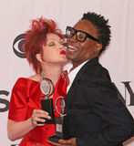 Cyndi Lauper and Billy Porter. Pop diva iconic singer/songwriter Cyndi Lauper gets ready to plant a kiss on actor Billy Porter in the Press Room following the Royalty Free Stock Photography