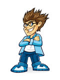Cynical Boy Geeks. A wearing glasses young man with bushy hair who look cynical and crossed his arms Stock Photo