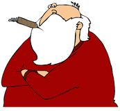Cynical Santa. This illustration depicts Santa in his underwear, his arms folded and smoking a big cigar Royalty Free Stock Photography