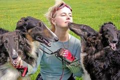Cynologist con i cani del borzoi del thoroughbred Fotografia Stock Libera da Diritti