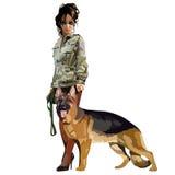 Cynologist de femme avec le chien de berger de chien illustration libre de droits