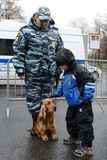 Cynologists with dogs in Moscow. Royalty Free Stock Images