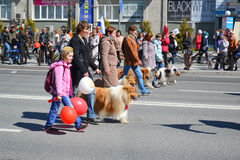Cynologists with guard dogs participate in demonstration in hono Royalty Free Stock Photos