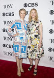 Cynthia Nixon and Laura Linney. Actress Cynthia Nixon and costume designer Jane Greenwood arrive for the 2017 Tony Awards Meet the Nominees Press Junket at Stock Image