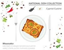 Cypern kokkonst Europeisk nationell maträttsamling Moussaka isolator stock illustrationer