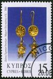 CYPERN - 2000: olika stycken för shower av smycken, serie smycken Arkivfoton