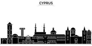 Cypr architektury miasta wektorowa linia horyzontu, podróż pejzaż miejski z punktami zwrotnymi, budynki, odosobneni widoki na tle ilustracji