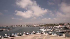 Cypr, Grecja, przyjemności łodzie, i łodzie rybackie w schronieniu, łodzie rybackie blisko mola, łódkowaty parking, A liczba zdjęcie wideo