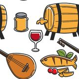 Cypr instrumentu muzycznego i napoju karmowy bezszwowy deseniowy podr??owa? ilustracja wektor