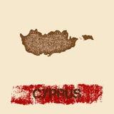 Cypr martwił mapę ilustracja wektor