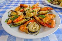 Cypr owoce morza Meze przy harbourside restauracją Zdjęcia Stock