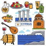 Cypr podróży punktów zwrotnych symbole i turystyczne zwiedzające wektorowe ikony ilustracji