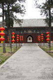 Cypress Chinese ancient buildings, red lanterns Stock Images