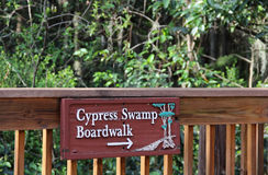 Cypress Swamp Boardwalk Sign Royalty Free Stock Images