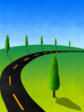Cypress tree hill textured. Road over a  hill with cypress trees Royalty Free Stock Photography